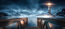 Night Cold Seascape, Fantasy Island, Sea Lighthouse And Wooden Pier By The Sea. Cold Water, Reflection Of Light In Water.