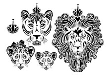 Family Of Lions Stylized Faces. T-shirt Prints. Family Look. Vector Illustration