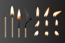 Match Sticks With Flame Sequence Set. Wooden Matches, Burning, Hot And Glowing Red, Blown Out. Abstract Realistic Vector Illustration. Lights And Flames Collection Design On Transparent Background