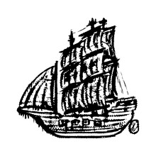 Old Wooden Sailing Ship. Black Outline Linear Sketch Drawing. Front View. Vector Flat Graphic Hand Drawn Illustration. The Isolated Object On A White Background. Isolate.