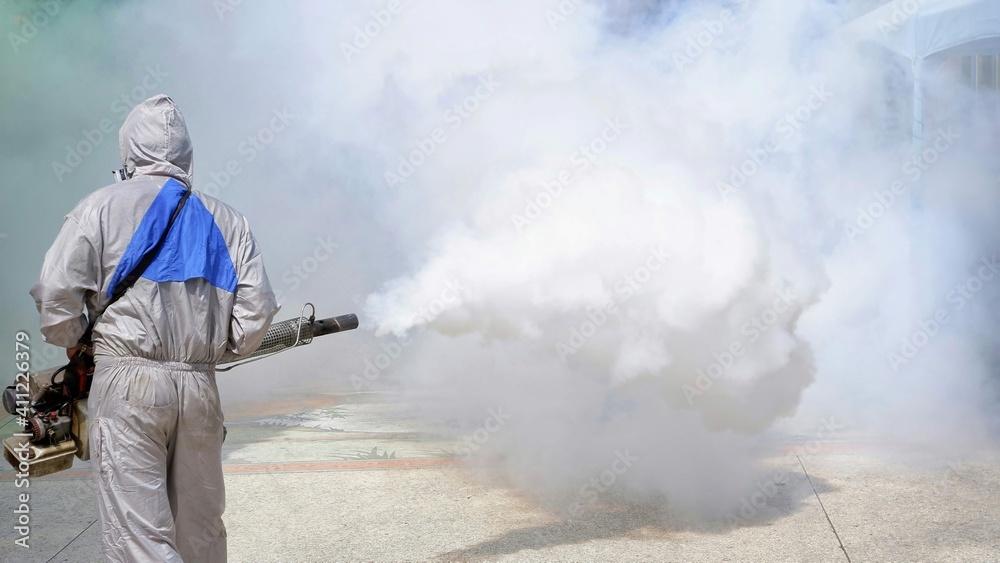 Fototapeta Rear View Of Person Doing Pest Control
