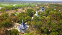 4K-Top View From Flying Drone Over Wat Phra Phut Tha Bat,temple And Pagoda  In Maha Chana Chai Town, Yasothon  Province,Thailand,ASIA.