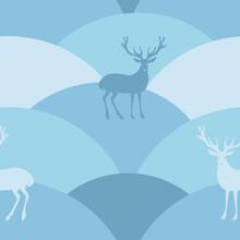 Deers On Hills. Vector Color Blue Image Seamless Pattern.