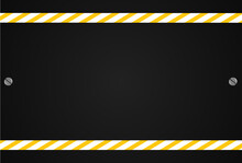 Black And Yellow Caution Background. Warning Sign Background