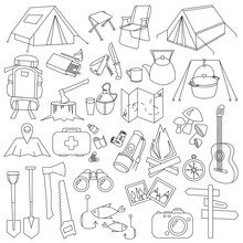 Big Set Of Tourism, Travel, Hiking Illustrations. Black And White Travel Icons Isolated On White Background. Linear Hiking Icons, Separate Objects, Can Be Used As Stickers. Stock Vector Illustration.