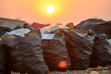 Sunrise Sun Above The Ocean Of Garbage