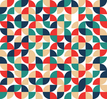 Seamless Pattern Of Geometric, Pie And Rounded Shape Pastel Style For Background, Artwork, Texture And Wallpaper. Vector Background.