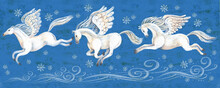 A Vivid Illustration Of Beautiful White Horses Flying On Their Wings Across The Night Winter Sky. Surrounded By Blizzards And Snowflakes On A Blue Background. Flying Pegasus, Romance, Inspiration, Mus