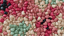 Multicolored Heart Background. Valentine Wallpaper With Pink, White And Green Love Hearts. 3D Render