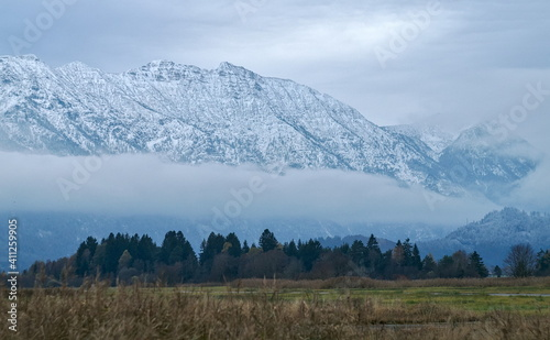 Scenic View Of Snowcapped Mountains Against Sky #411259905