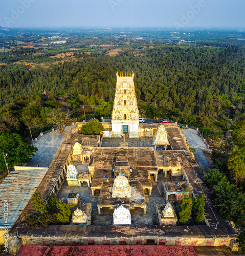 An aerial view of the 1000-year old Markandeshwara Temple, situated atop Markandeya Hills - 15Kms from Kolar and 70Kms from Bangalore, India