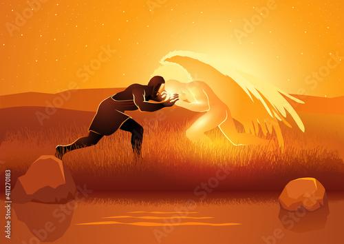 Fototapeta  Jacob wrestling with God or the angel obraz