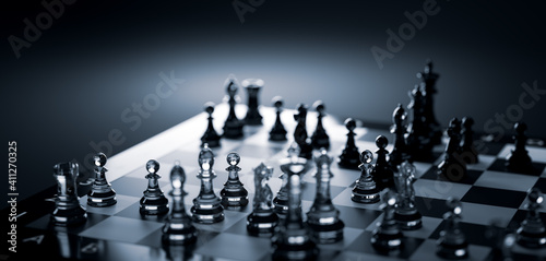 Chess game. Strategic desicion making. Plan and competition Fotobehang