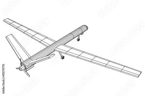 Military drone combat unmanned aerial vehicle Fototapet