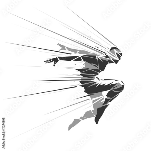 Human geometric silhouette with motion effect Fotobehang