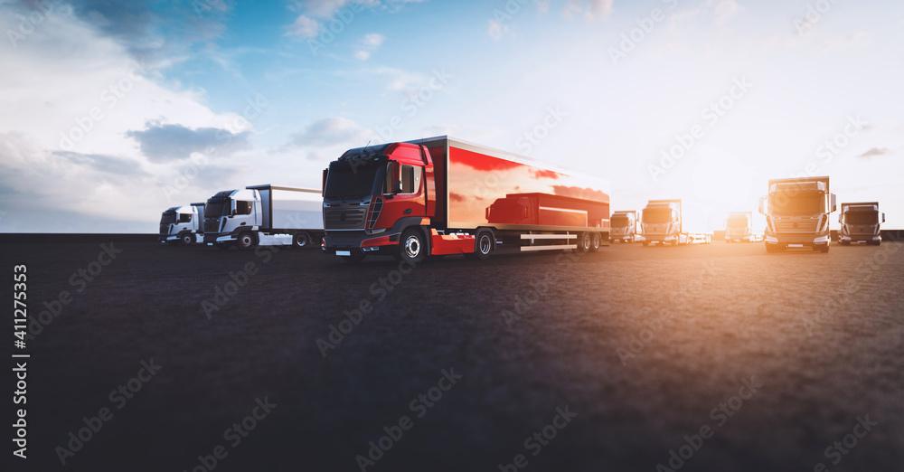 Fototapeta Fleet of new heavy trucks. Transportation, shipping industry
