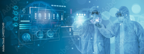 Obraz Doctor or scientist using smart visual interface screen,information molecule and DNA helix structure,virus,stem cells,cell sample ,concept healthcare,medical,science,technology,biology development - fototapety do salonu