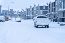Suburban Street In Calgary Canada After Snow Storm