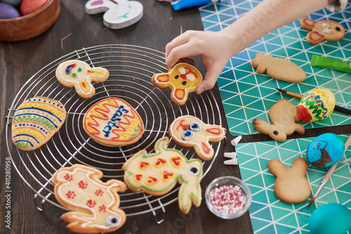 Obraz High angle view of gingerbread holidays cookies cooked by children - fototapety do salonu