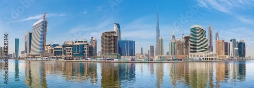 Dubai - The panorama with the new Canal and skyscrapers of Downtown Fototapeta