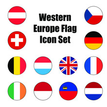 Western Europe Flag Icon Set Of A Group Of Nations Or Allies For Concepts And Themes In Europe.