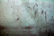 Dirty Wall With Handprints Inside An Abandoned Building