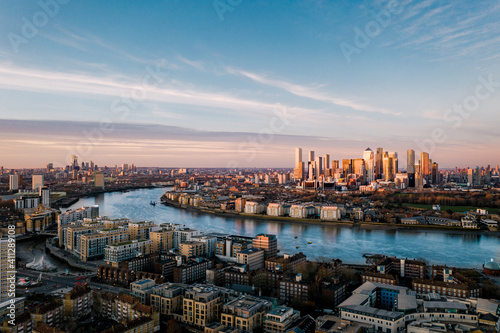 Fotografie, Obraz Aerial photography of London Canary Wharf and Isle of Dogs