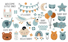 Vector Hand Drawn Baby Shower Collection For Boy With Cute Babies, Moon, Cloud, Rainbow, Star For Nursery Decoration.