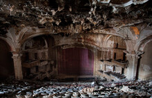 Interior View Of A Decaying Old Abandoned Theater