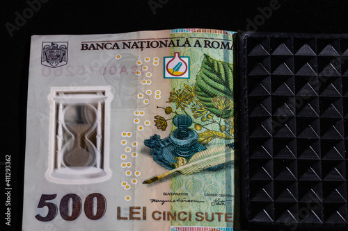 LEI romanian money banknotes in black wallet isolated © VladFlorin