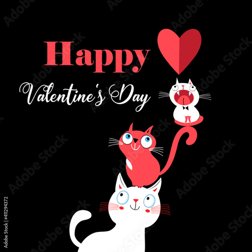 Vector illustration of a lovely cats in love with a heart © tanor27