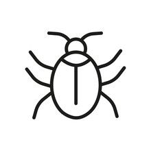 Outline Bug Line Icons Isolated On A White Background. Box Icons Sign