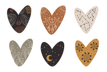 Vector Hand Drawn Hearts Collection With Celestial And Bohemian Elements: Moon, Stars, Branches, Dream Catcher For Decoration. Mystery Symbols.