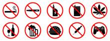 Bad Habits Icons. Bad Habits Is Forbidden. Stop Bad Habit Icon. Vector Illustration.