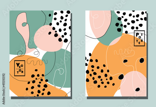 Canvastavla Trendy covers with graphic elements - abstract shapes and linear portraits