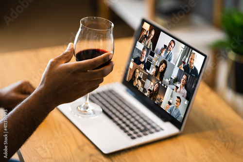 Online Video Conference Home Party Call Wine © Andrey Popov