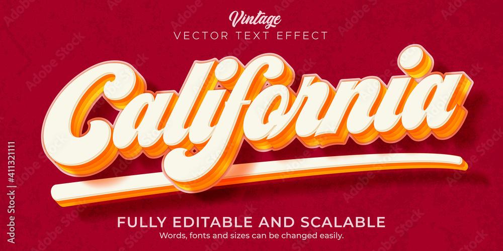 Fototapeta Retro, vintage text effect, editable 70s and 80s text style