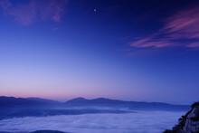 Peacful Night Sky Before The Sunrise Over The Valley, Terni, Umbria, Italy