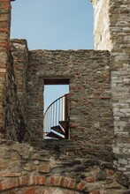 Low Angle View Of Old Medieval Building With Stairs Against Clear Sky