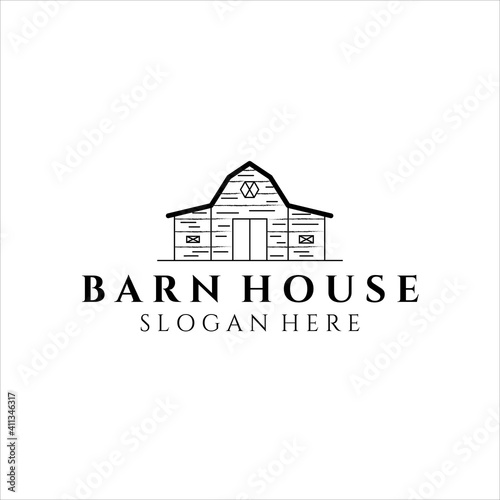 Fotografie, Obraz barn house line art logo illustration design