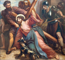 VIENNA, AUSTIRA - OCTOBER 22, 2020: The Painting Fall Of Jesus Under The Cross In Church St. Johann Der Evangelist By Karl Geiger (1876).