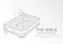 The Bible Digitally Drawn Low Poly Wire Frame On White Background.