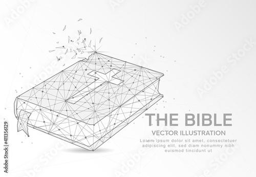 Fotografie, Obraz The Bible digitally drawn low poly wire frame on white background