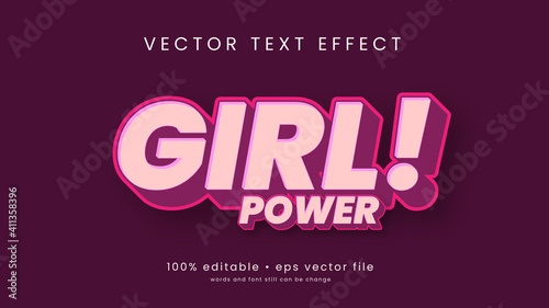 Girl Power text effect with pink color design and editable text
