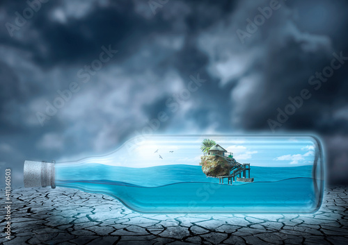 Leinwand Poster ocean and island inside the glass bottle, arid and desert environment