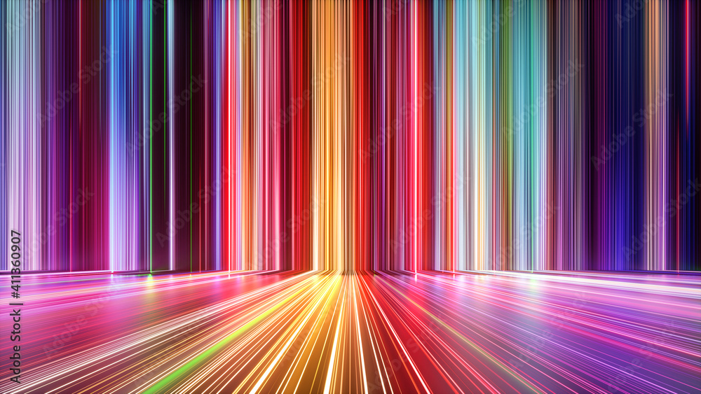 Fototapeta 3d render, abstract background with colorful spectrum. Bright neon rays and glowing lines.