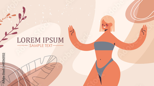 Obraz slim toned girl in underwear beautiful woman standing pose love your body concept horizontal copy space vector illustration - fototapety do salonu
