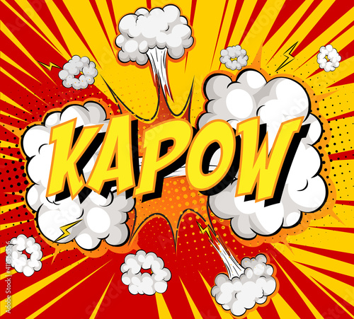 Word Kapow on comic cloud explosion background #411366556