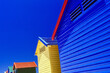 canvas print picture - Low Angle View Of Modern Building Against Clear Blue Sky