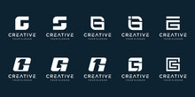 Set Of Creative Abstract Monogram Letter G 1 Logo Design.